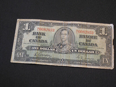 1937 Bank of Canada $1 Canadian Money - Low Serial # B/L 0082953 Good Cond.