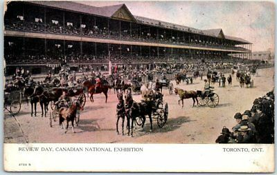 "Toronto Canada Postcard ""Review Day, Canadian Exhibition"" Horses Grandstand c191"