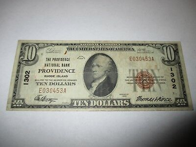 $10 1929 Providence Rhode Island RI National Currency Bank Note Bill #1302 FINE