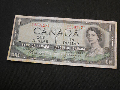 1954 Bank of Canada $1 Canadian Money - Devil's Face - Very Good Condition