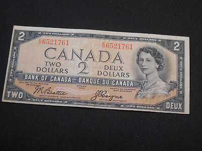 1954 Bank of Canada $2 Canadian Money - Devil's Face Very Good Cond Offset Error