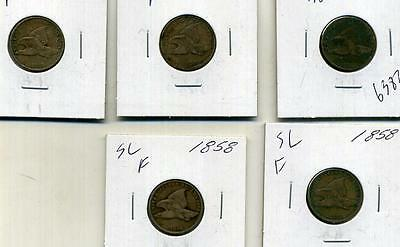 1858 Small Letter Flying Eagle Penny Lot Of 5 Ag Fine 6382E