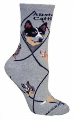 Adult Size Medium AUSTRALIAN CATTLE DOG Adult Socks/Grey Made in USA