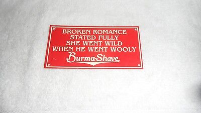 "All Original 6"" X 3"" Tin Tacker Burma Shave Advertising Sign Mint New Old Stock"
