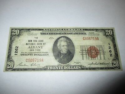 $20 1929 Albany New York NY National Currency Bank Note Bill Ch #1262 VF!