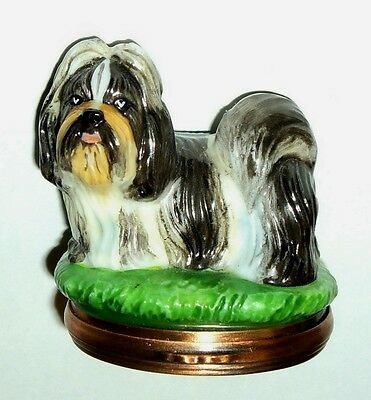 Halcyon Days Enamel Box - Dog Bonbonniere - Chinese Shih Tzu - Puppy