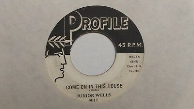 45 RPM  Junior Wells PROFILE Come On In This House BLUES   VG