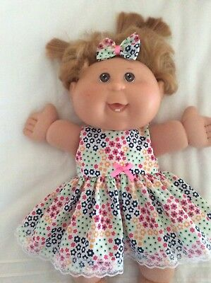"""DOLLS CLOTHES made to fit 14"""" CABBAGE PATCH DOLL - Dress And Bow - Bright Flower"""
