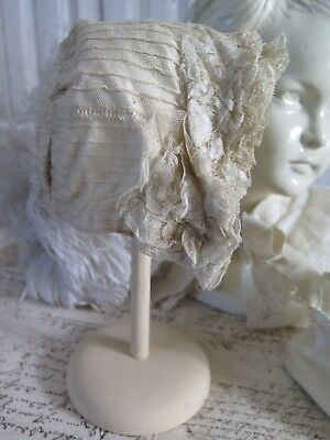 ANTIK BONNET Puppe/Baby HUT tea cream Tulle Lace Tüll  Victorian french SHABBY