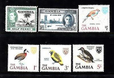 Vg608 Gambia 6 Different Mint Hinged  Buy 4 Or More Stamp Lots $3.00 Maximum S&h