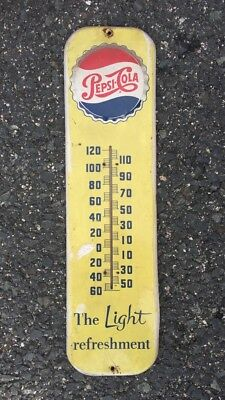 1950s Pepsi-Cola The Light Refreshment Vintage Advertising Sign Thermometer Soda