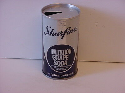 Vintage Shurfine Grape Straight Steel Pull Tab Top Opened Soda Can