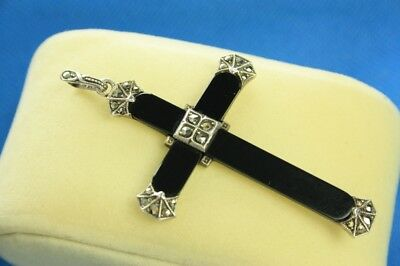 Antique Art Deco C1920s 935 Silver Onyx & Marcasite Ornate Cross Pendant