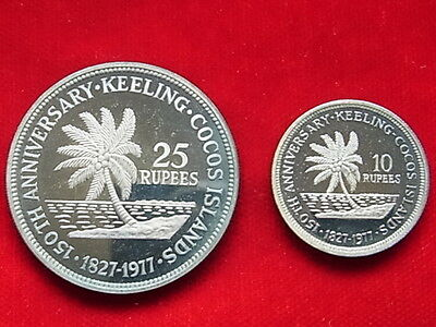 Cocos Keeling Islands. 1977 10 & 25 Rupees. 2 pce Proof Set - In Original Case
