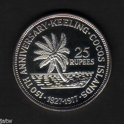 Cocos Keeling Islands. 1977 25 Rupees.. Silver  BU - SCARCE..