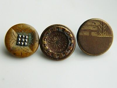 Lot old ANTIQUE Vintage BRASS Buttons w/ simple engraved designs one BM Kendrick
