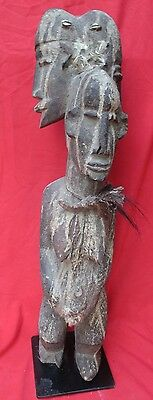 Vintage West African Power Figure ~ Fetish With 3 Heads, Medicine Horn, Feathers