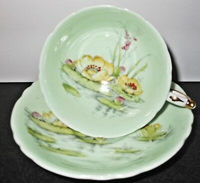 Lovely Antique Paragon Water Lily Pale Green Pedestal Cup and Saucer