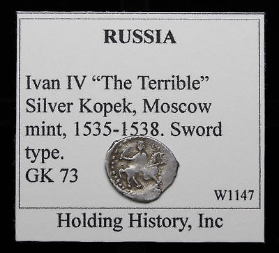"RUSSIA. Ivan IV ""The Terrible"", Hammered Silver Kopek, Wire Money, G&K 73"