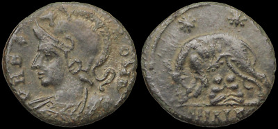Anonymous City Commemorative Follis, VRBS ROMA, Romulus and Remus, 13mm, 1.60g