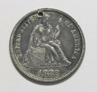 1882 U.S. Dime * Liberty Seated * 90% Silver * Circulated * Love Token * Holed