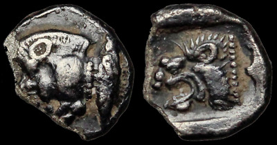 MYSIA, Kyzikos. Silver Tetartemorion, Boar with Tunny fish / Lion. 5mm, 0.25g