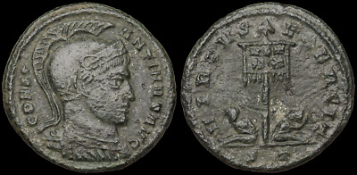Constantine I AE3, VIRTVS EXERCIT, Standard with captives, 19mm, 3.11g