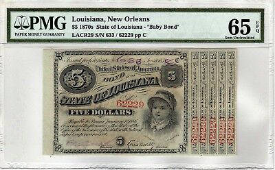 "$5 1870's ""Baby Bond"" State of Louisiana With 5 Coupons-PMG GEM CU 65 EPQ"