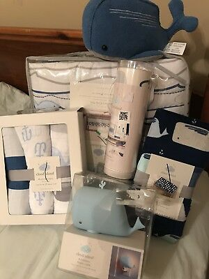 Cloud Island 11 Pc Crib Baby Bedding Set By the Sea Navy Whales Red Blue Fish