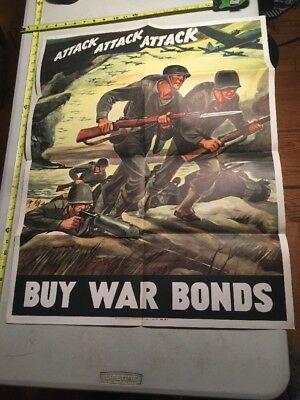 Beautiful Attack Attack Wwii Poster 1942 Lot 19 World War Two Original