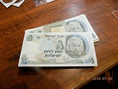 Pack of 100 1968 Bank of Israel 5 Lirot Notes - Einstein - Red Serial Nos. - CU