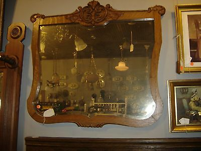 Antique Large Quarter-sawn Oak Shaped Beveled Mirror with Applied Carving 8123