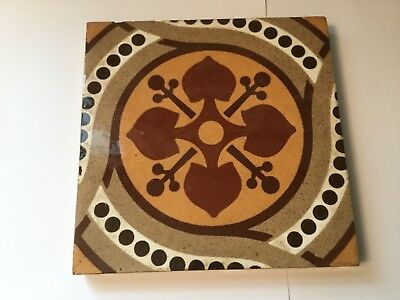 "Antique, Maw & Co, Benthall Works, Broseley, Shrapshire ENGL Tile  6-1/8"" Square"