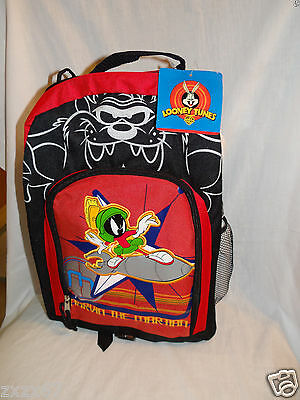 "Nwt Looney Tunes Marvin The Martian Red Backpack 16"" X 11""  /water Bottle"
