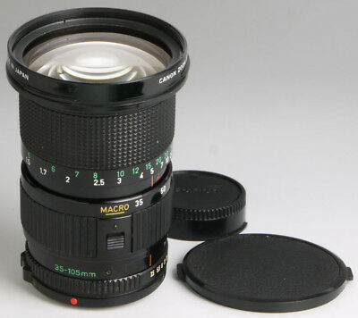 Canon FD 35-105mm f/3.5 macro + caps ___ vintage zoom lens for 35mm film cameras