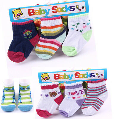 3Pairs/lot Baby Boy Girl Infant Toddler Kids Cotton Soft Socks Bootee Warm 0-12M