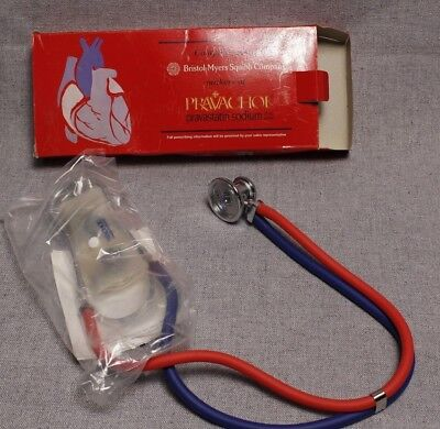 New Vintage Sprague Rappaport Style Red & Blue Stethoscope Unused