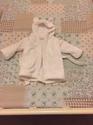 Unisex Baby Dressing Gown with Hood- 0-6 Months The Little White Company