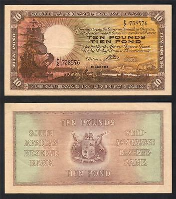 SOUTH AFRICA P-87. 1943 Ten Pounds.. Postmus signature.. 1 Year Only Issue..gVF