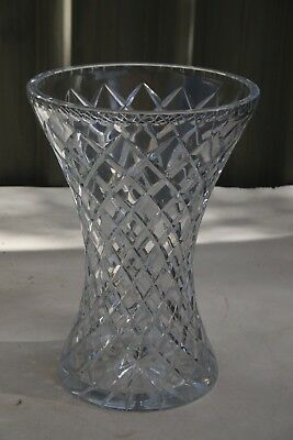 HUGE !! STUNNING VINTAGE BOHEMIA DIAMOND CUT LARGE VASE 4.15 kilos