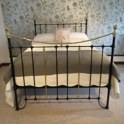 Antique king size brass and iron  victorian bedstead - professionally renovated