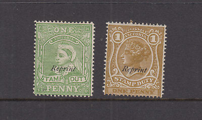 VICTORIA 1891 1d Green + 1d Brown STAMP DUTY Revenue- REPRINT- LHM pair