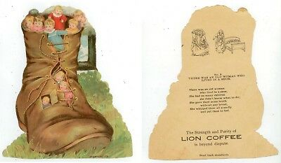 c1890s Lion Coffee Old Woman's Shoe House die-cut trade card