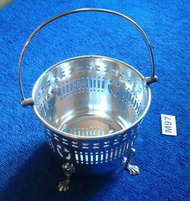 Antique Barker Brothers Silver Plated Pierced Bowl Paw Feet And Handle