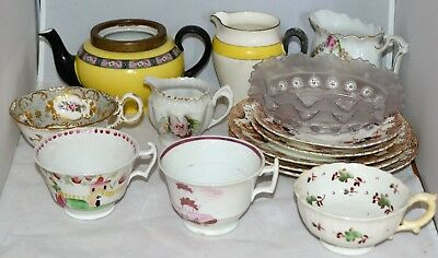 Job Lot of Victorian Possibly Earlier Pottery Porcelain China & Glass 15 Items