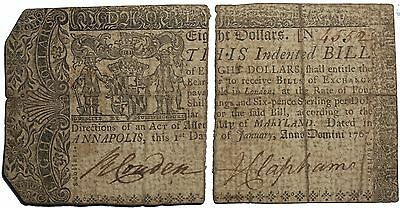 Maryland 1767 Eight Dollars $8 Colonial Currency Note Green And Sparrow