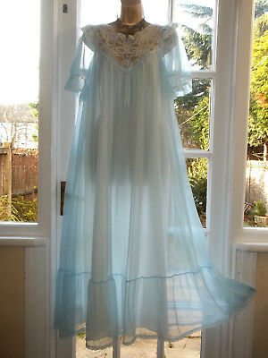 """Vintage 1970's Double Layered Nylon Satin Bow Lacy Nightie Gown 38"""" Tall Girl"""