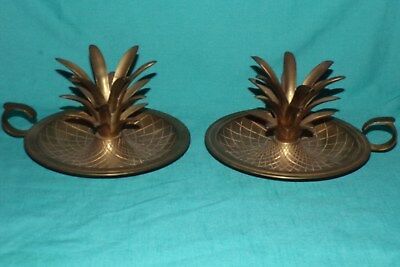 PAIR Vintage Large Brass Chamberstick Pineapple Finger Loop Candle Holder India
