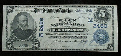 1902 City National Bank of Clinton Iowa National Currency $5 Note (rb1730)