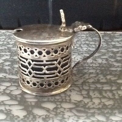 Haseler Brothers silver Chester 1902 pierced mustard pot blue liner